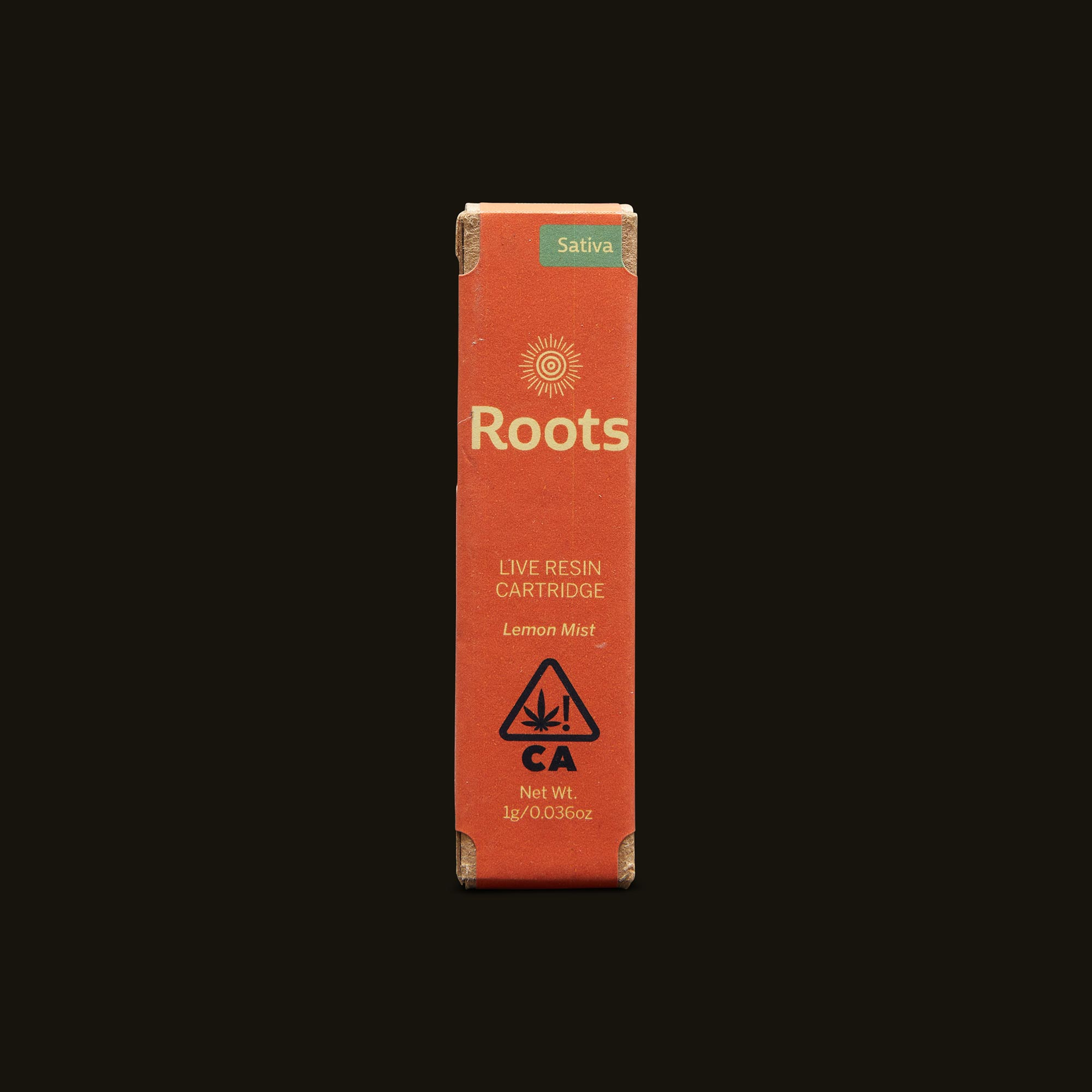 Roots Lemon Mist Live Resin Cartridge Front Packaging