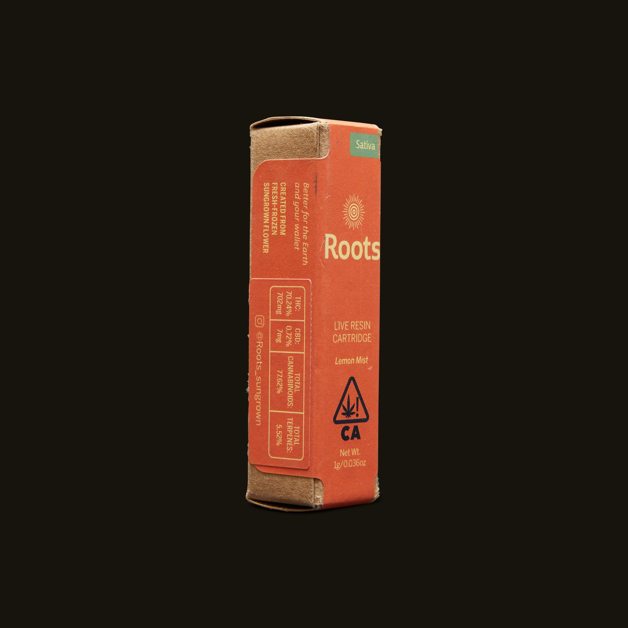 Roots Lemon Mist Live Resin Cartridge Side Packaging