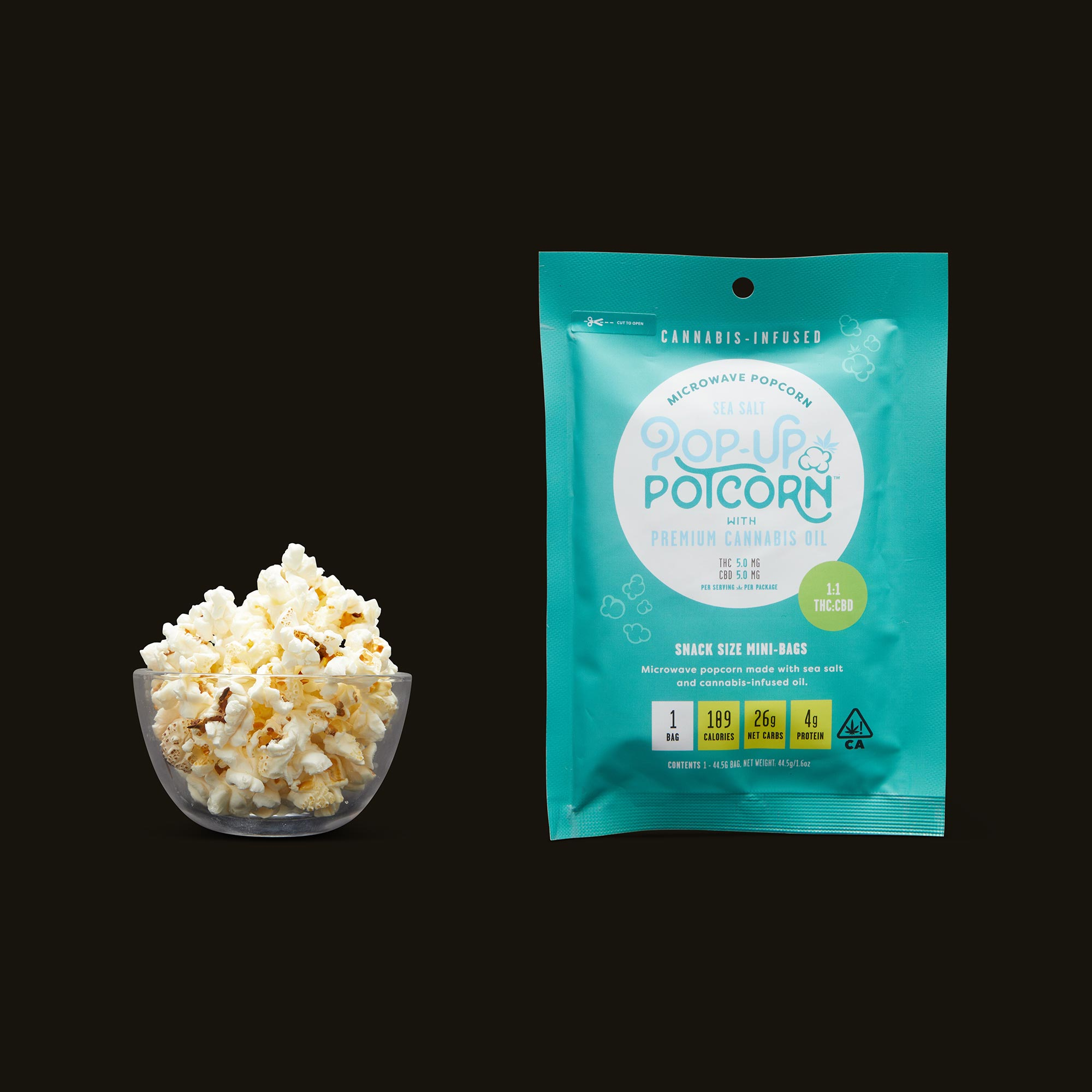 A bowl of Pop-Up Potcorn Sea Salt Microwave Popcorn 1:1 - Single