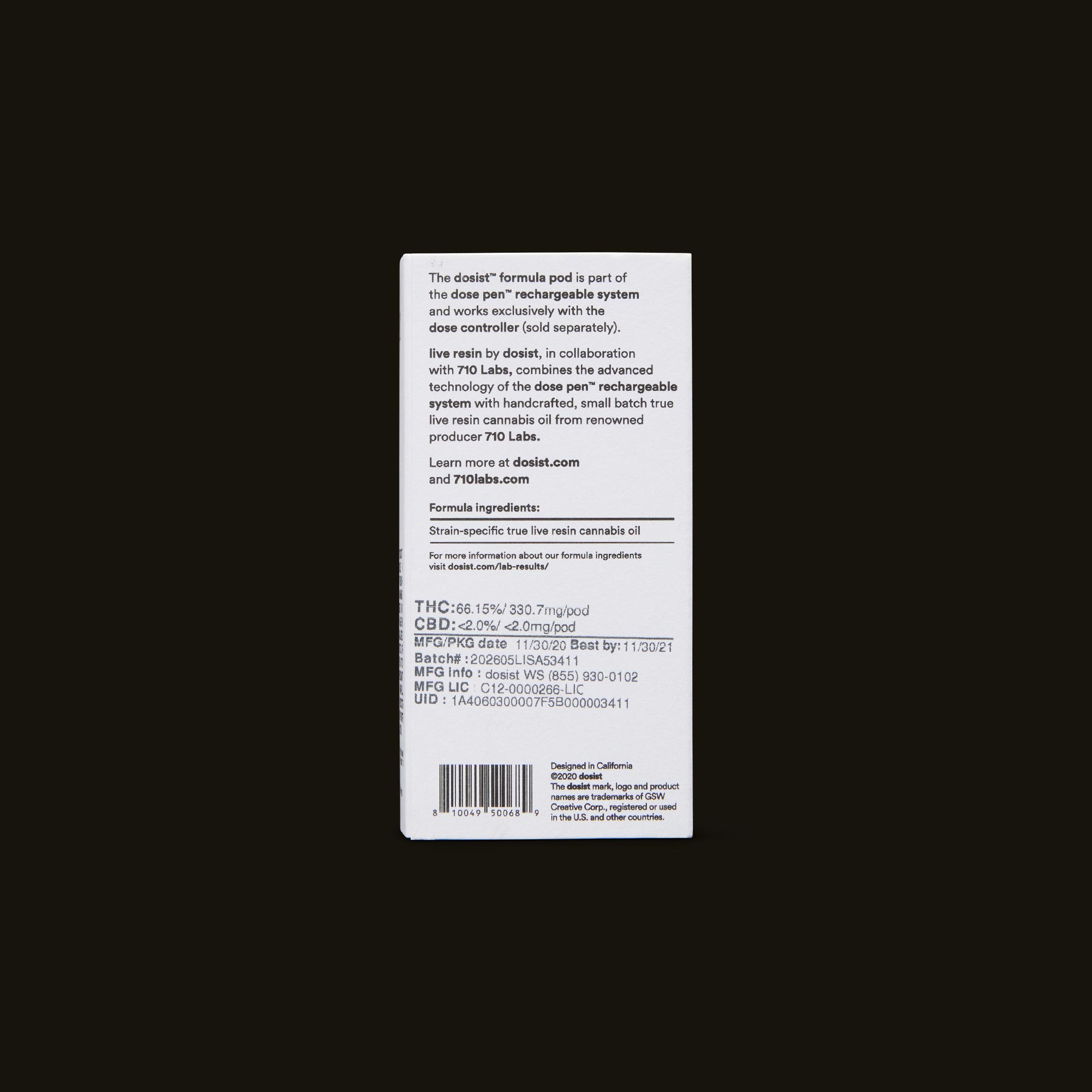 dosist Lemon Tart Pucker Live Resin formula pod Back Packaging
