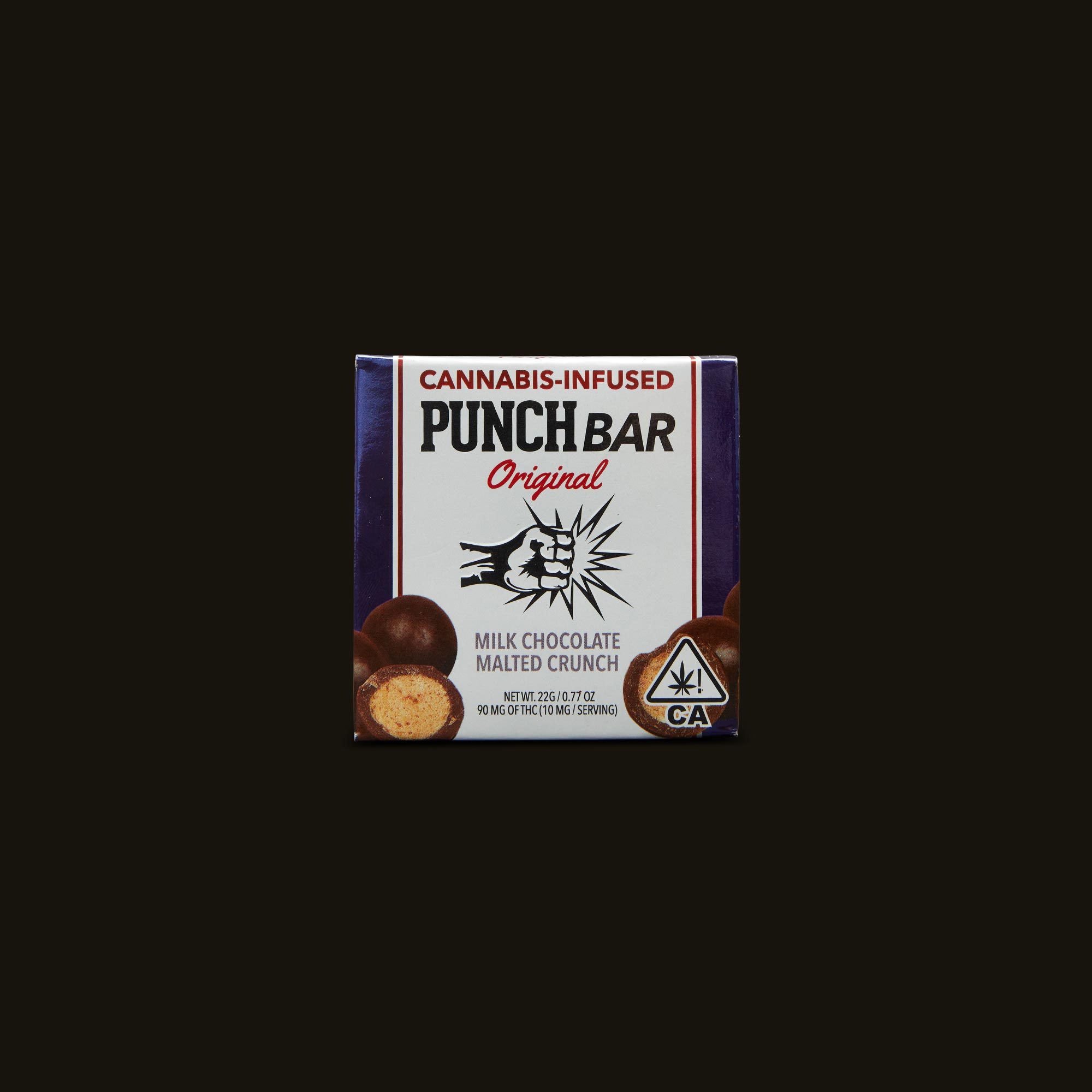 Punch Edibles PUNCH BAR Milk Chocolate Malted Crunch Front Packaging