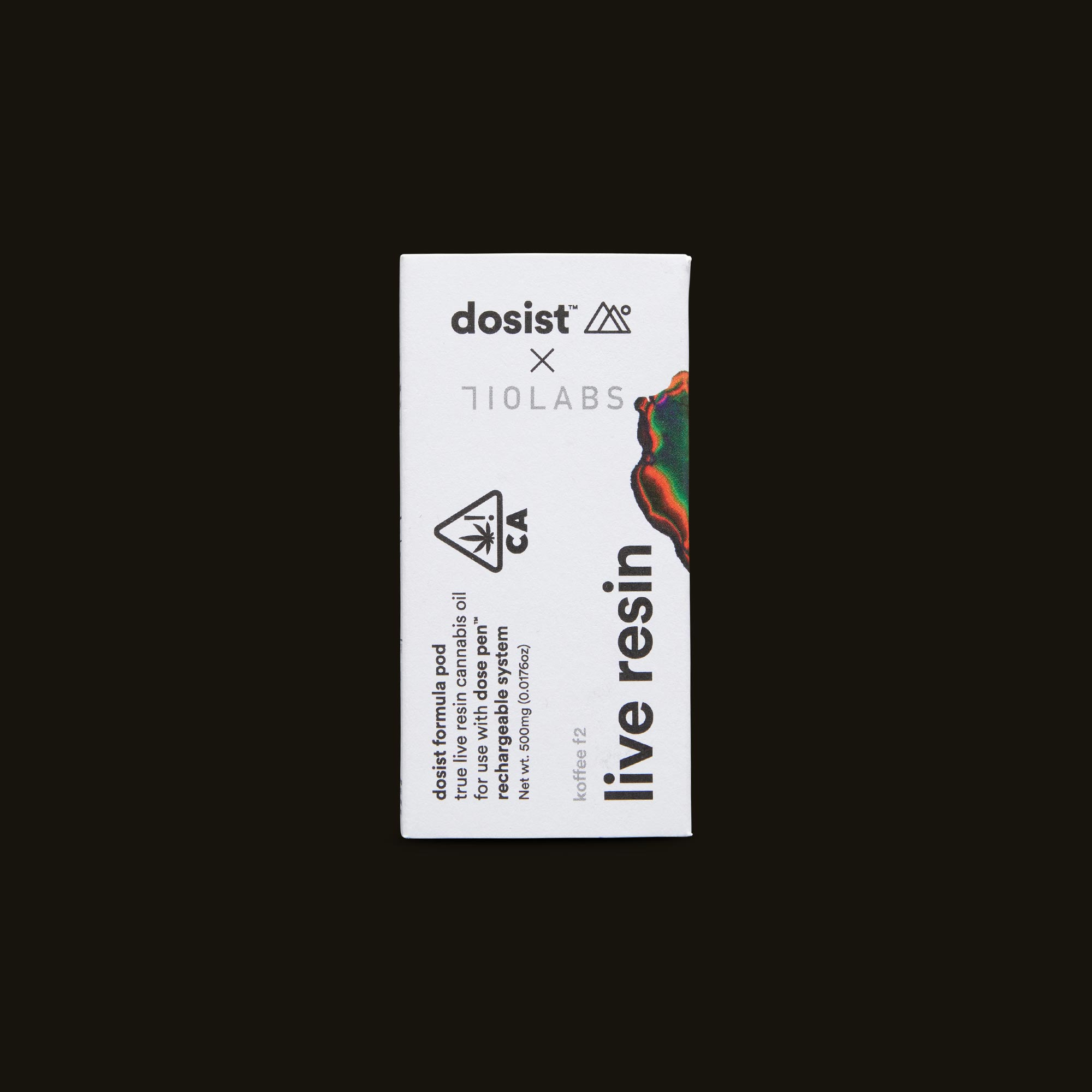dosist koffee f2 live resin pod front packaging