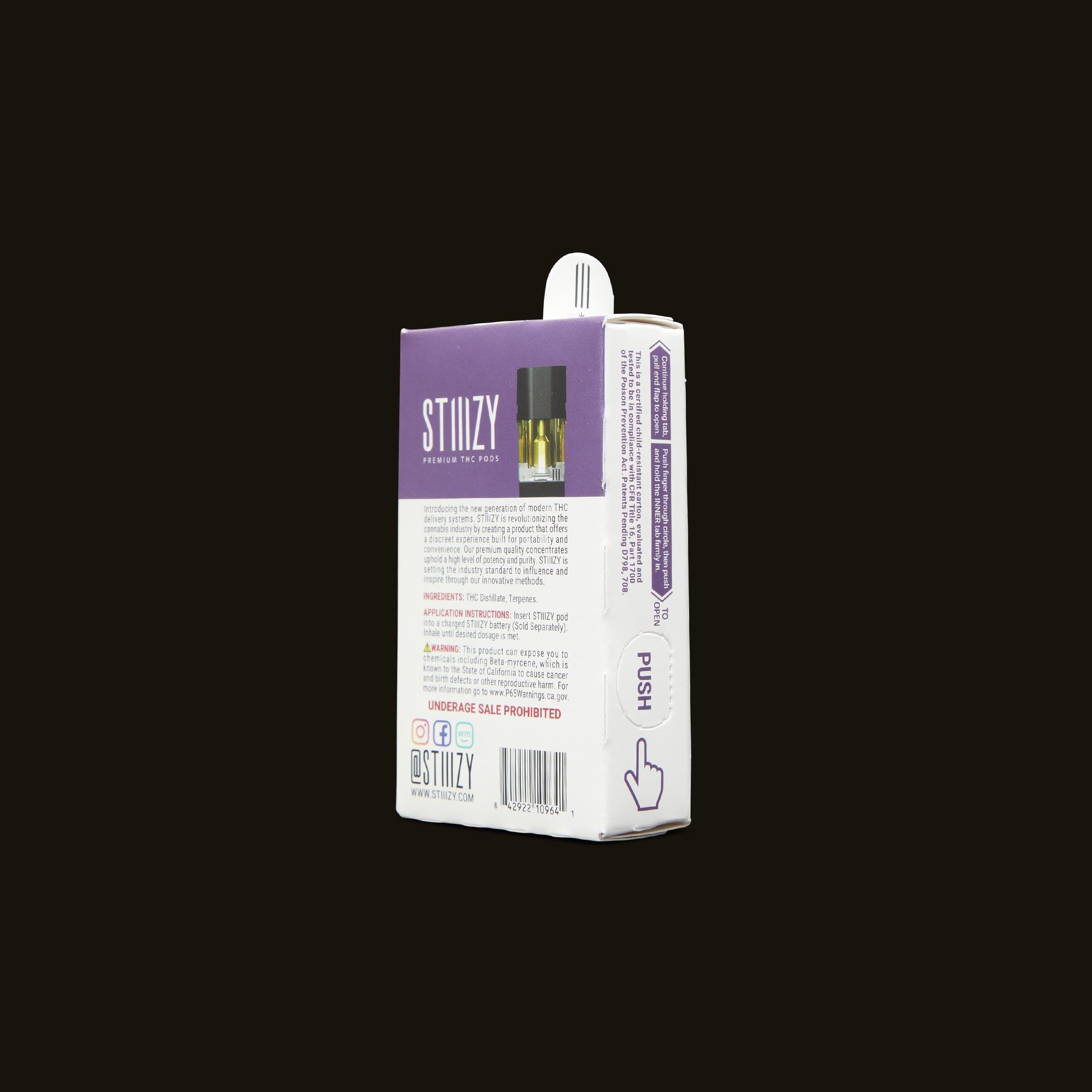 Stiiizy OG Kush Pod Back Packaging