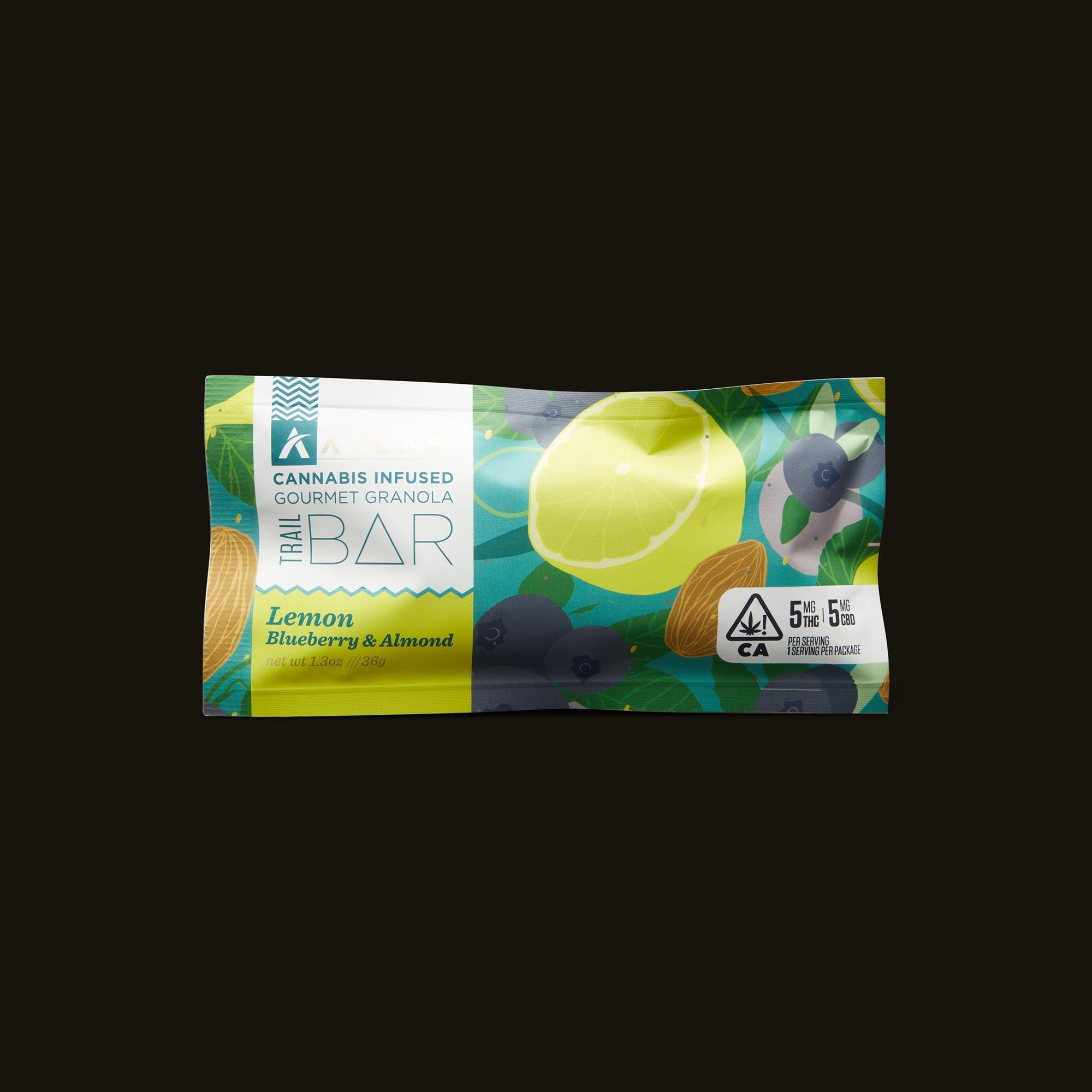 Atlas Edibles Lemon Blueberry & Almond Trail Bar Front Packaging