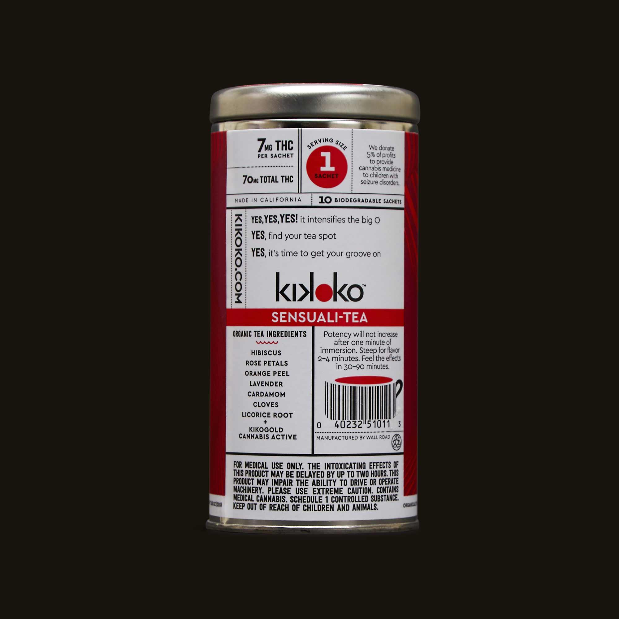 Sensuali tea ingredients and warning labels