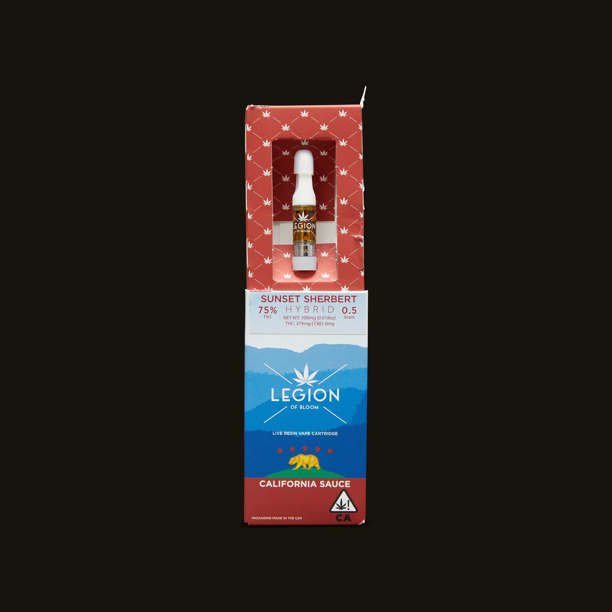 Legion of Bloom Sunset Sherbert CA Sauce Cartridge Open Packaging
