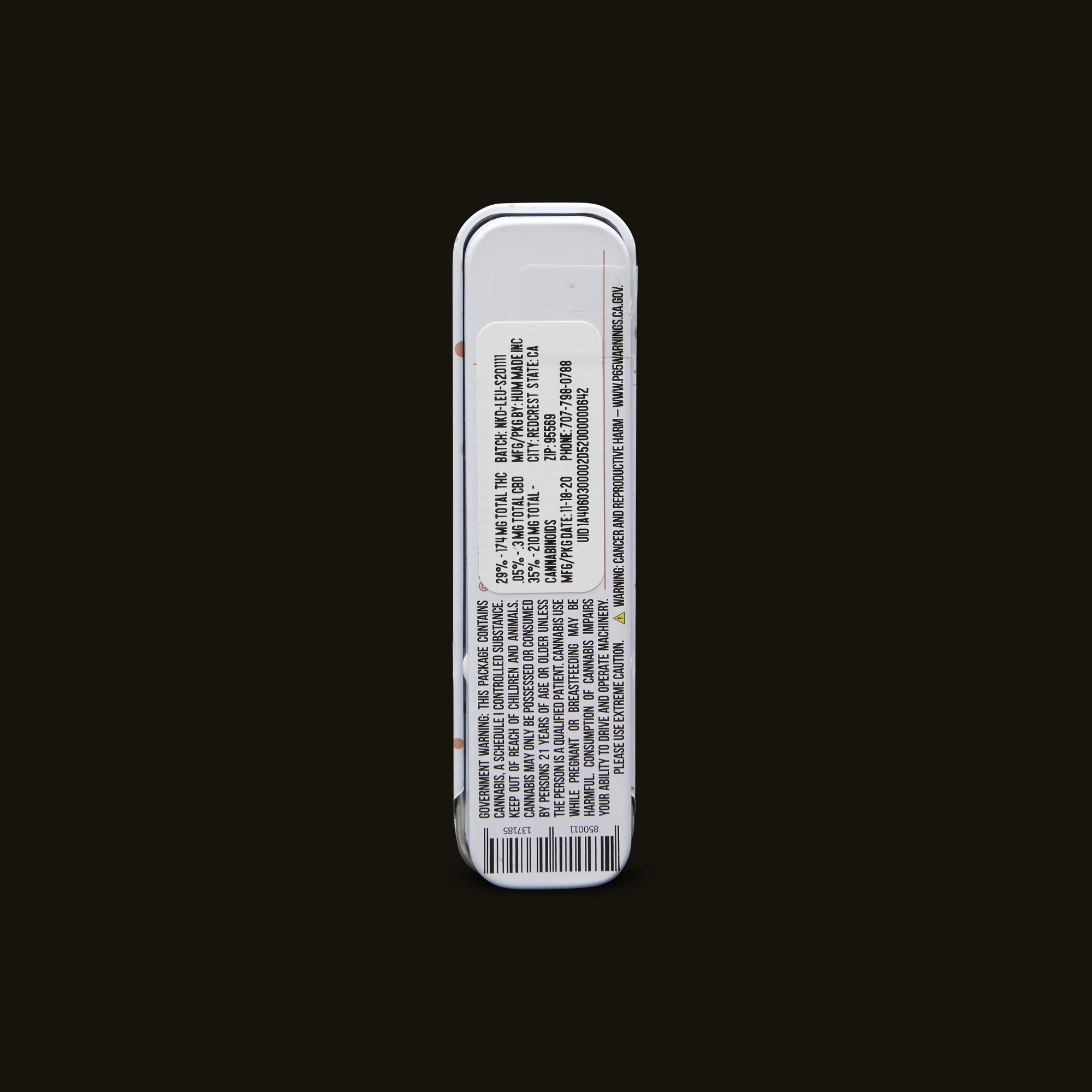 LEUNE Naked Pre-Roll Back Packaging