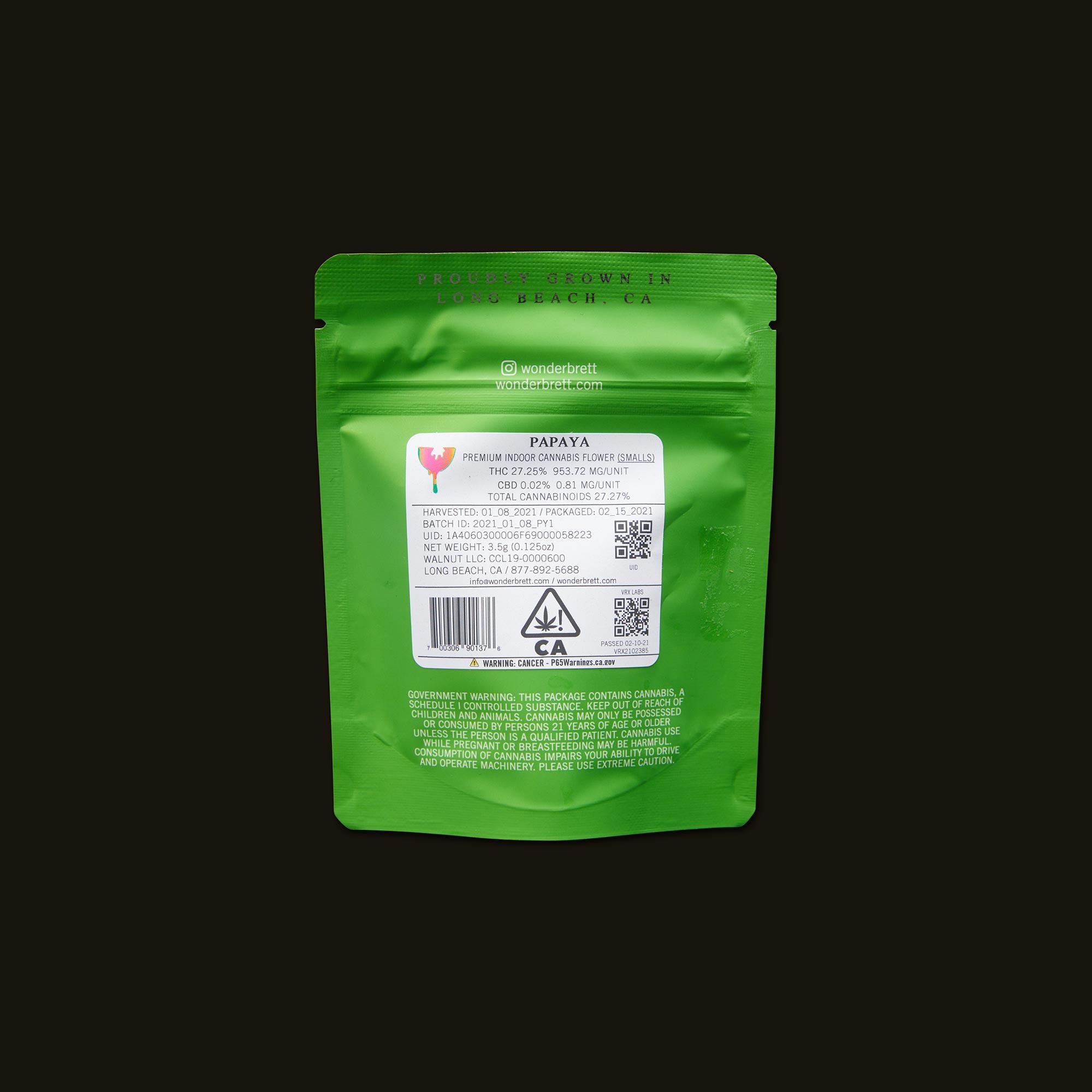WonderBrett Papaya Smalls Back Packaging