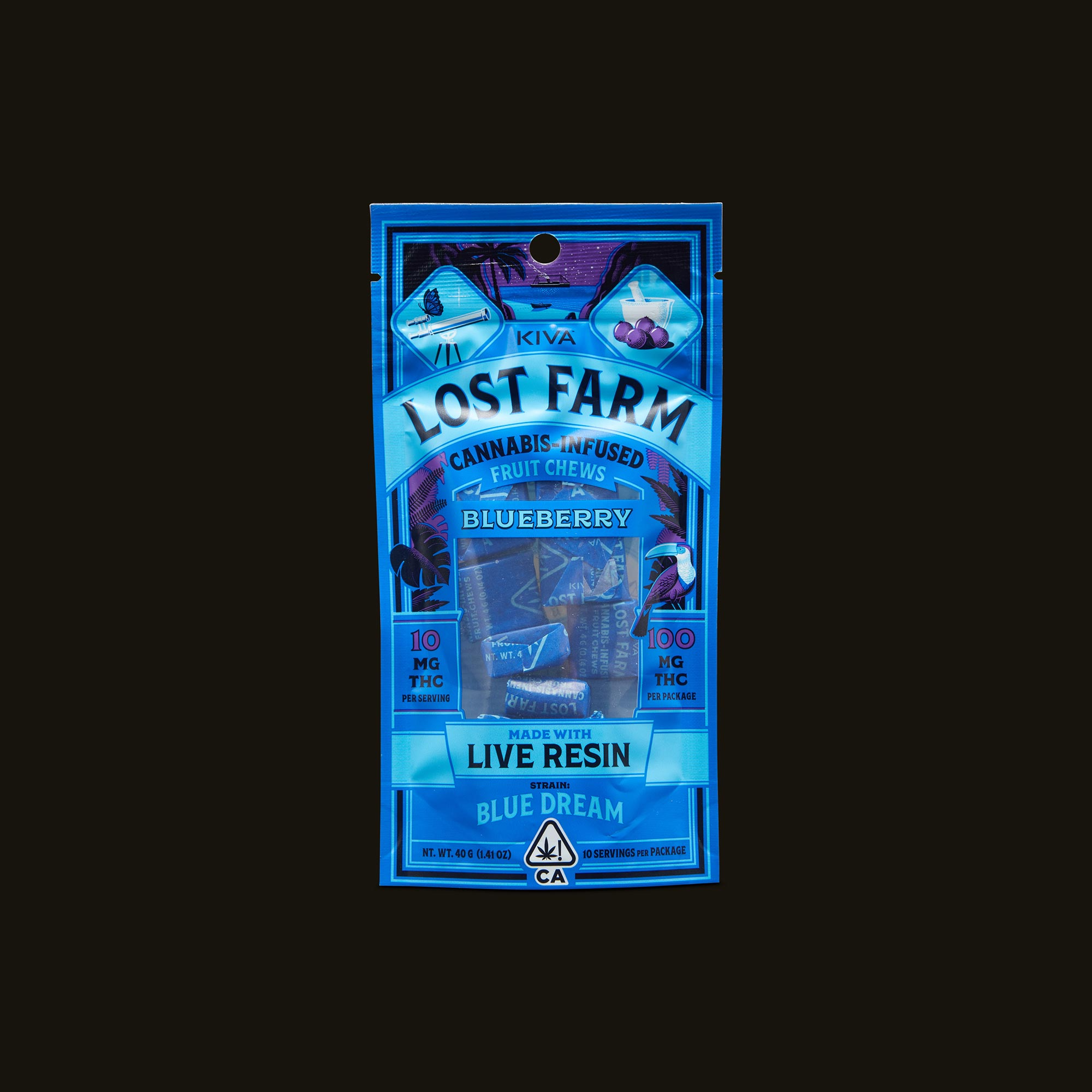 Kiva Confections Lost Farm Blueberry Chews Front Packaging