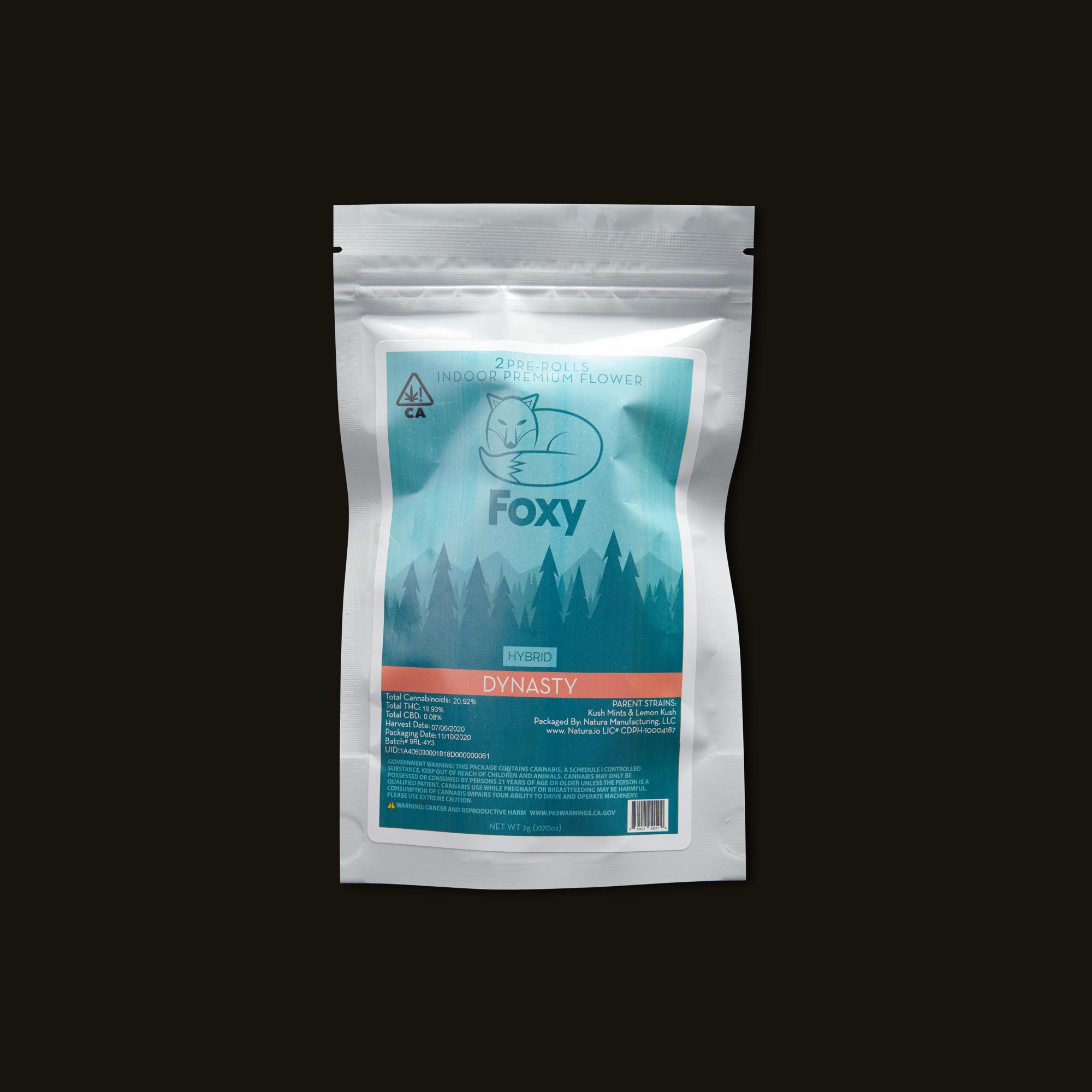 Foxy Dynasty Pre-Rolls Front Packaging