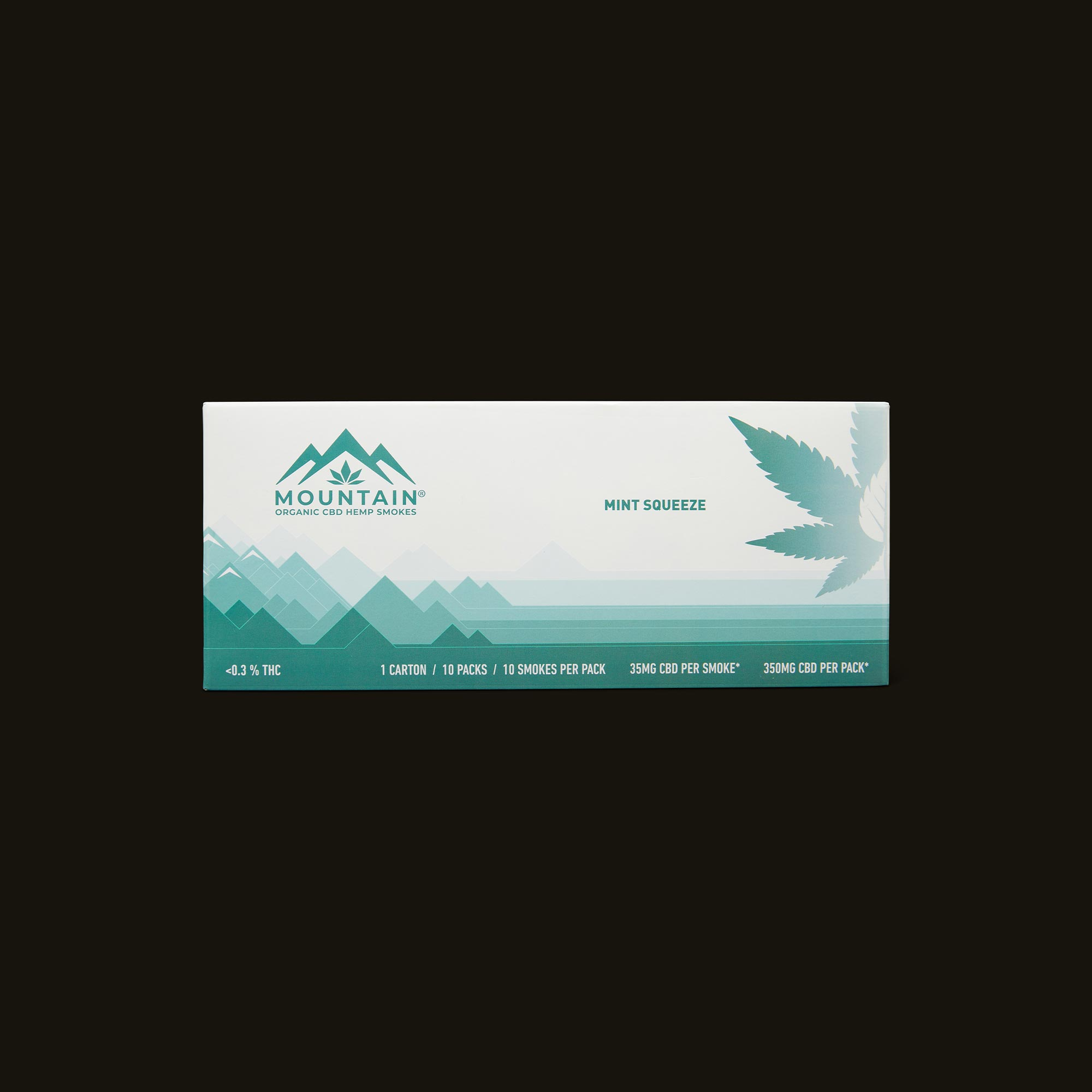 Mountain Smokes Mint Squeeze Carton of 10 Packs (35mg CBD) Front Packaging
