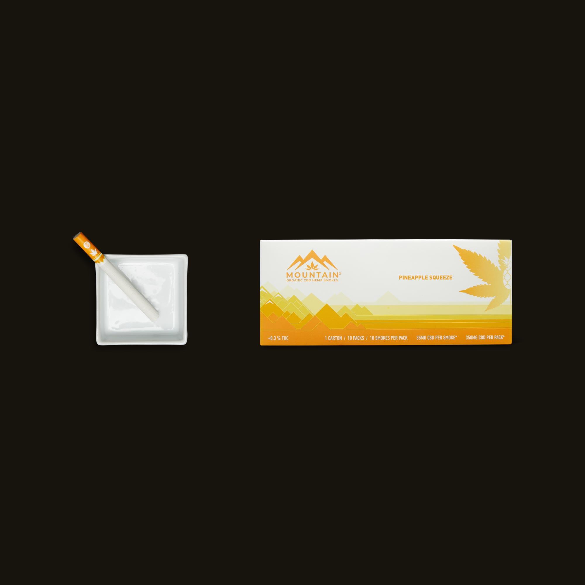 Mountain Smokes Pineapple Squeeze Carton of 10 Packs (35mg CBD)