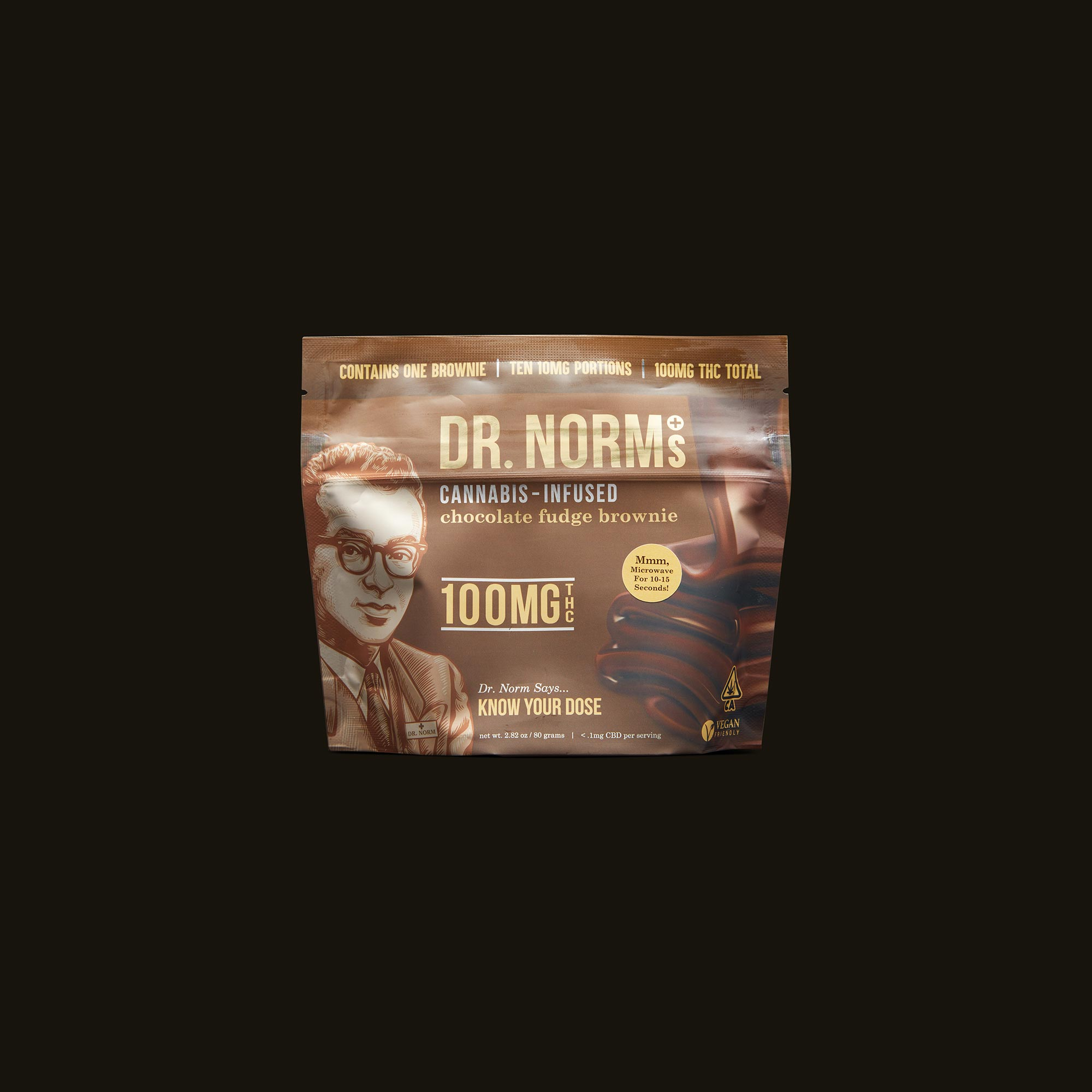 Dr. Norm's Chocolate Fudge Brownie Front Packaging