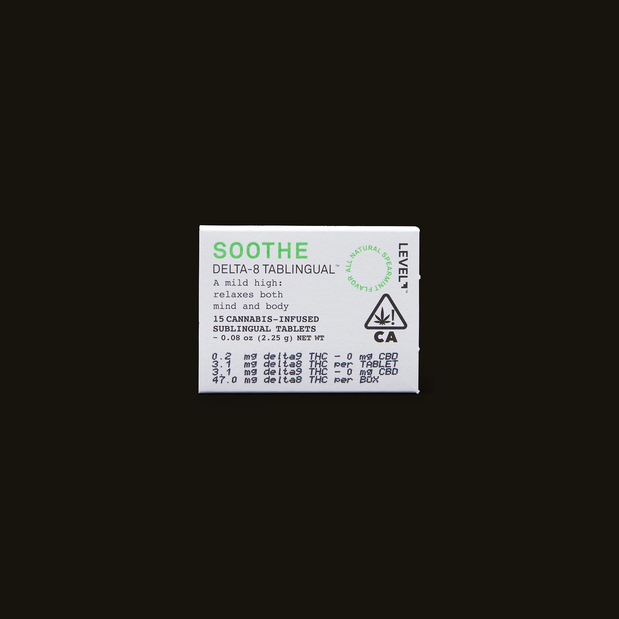 LEVEL Soothe Tablingual Front Packaging