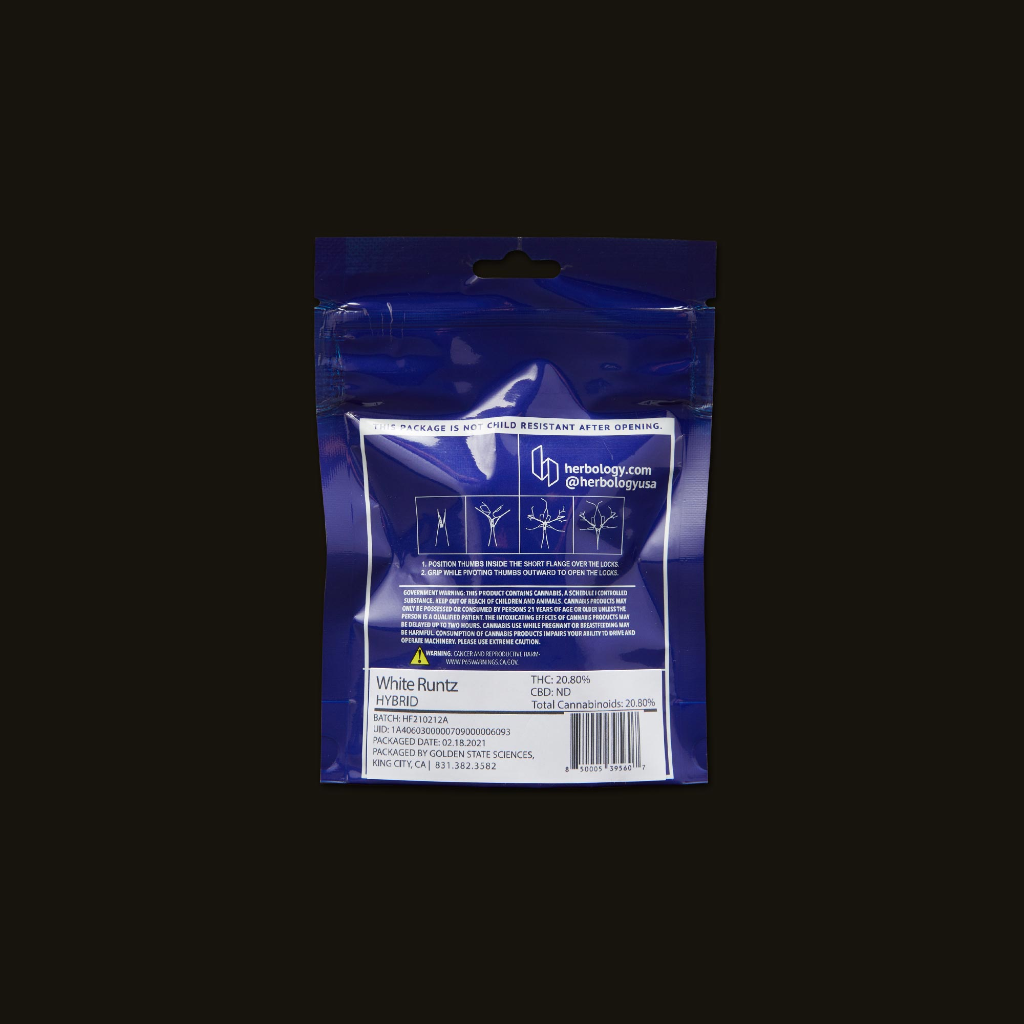 Herbology White Runtz Back Packaging