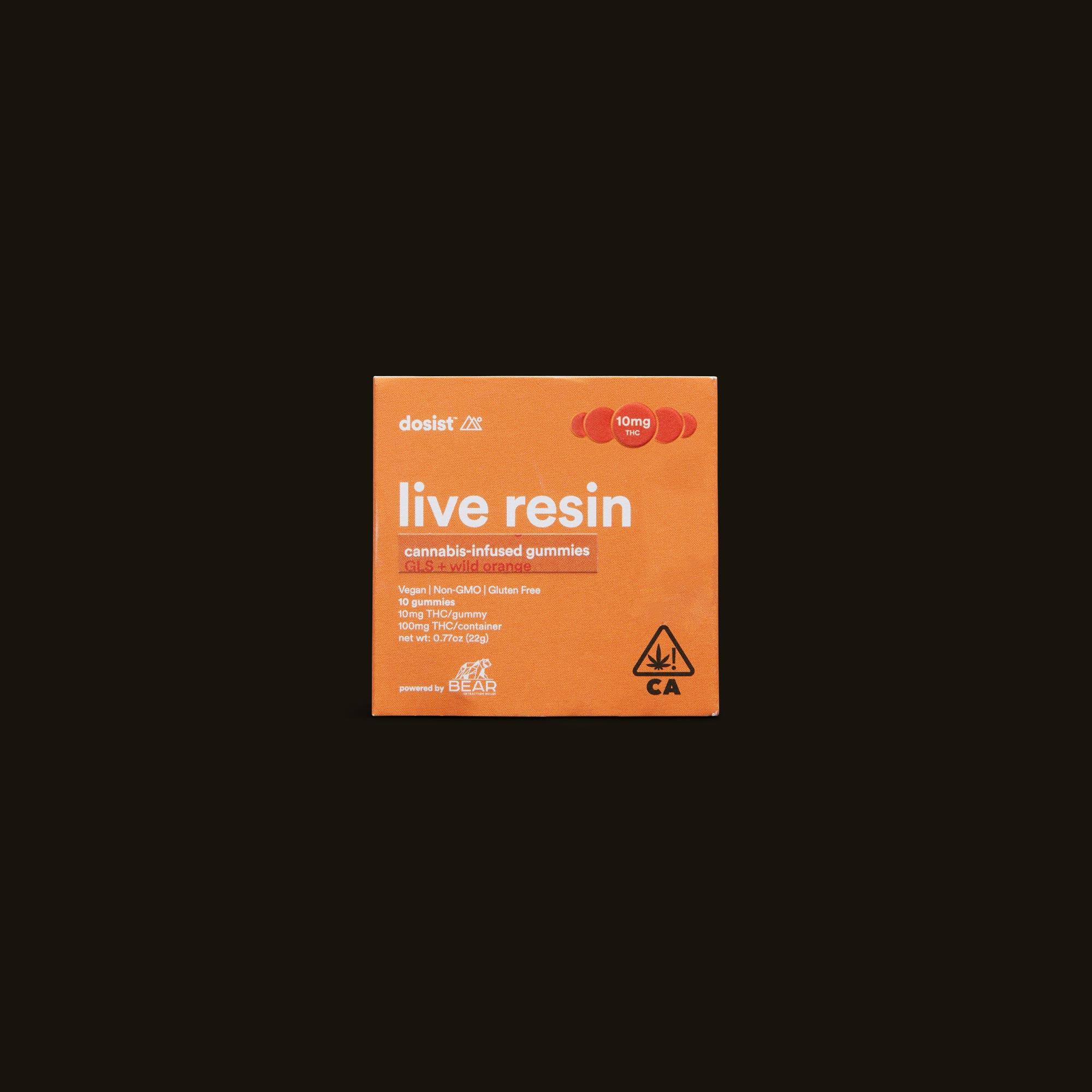 live resin GLS indica + wild orange gummies - 10 gummies (100mg THC)