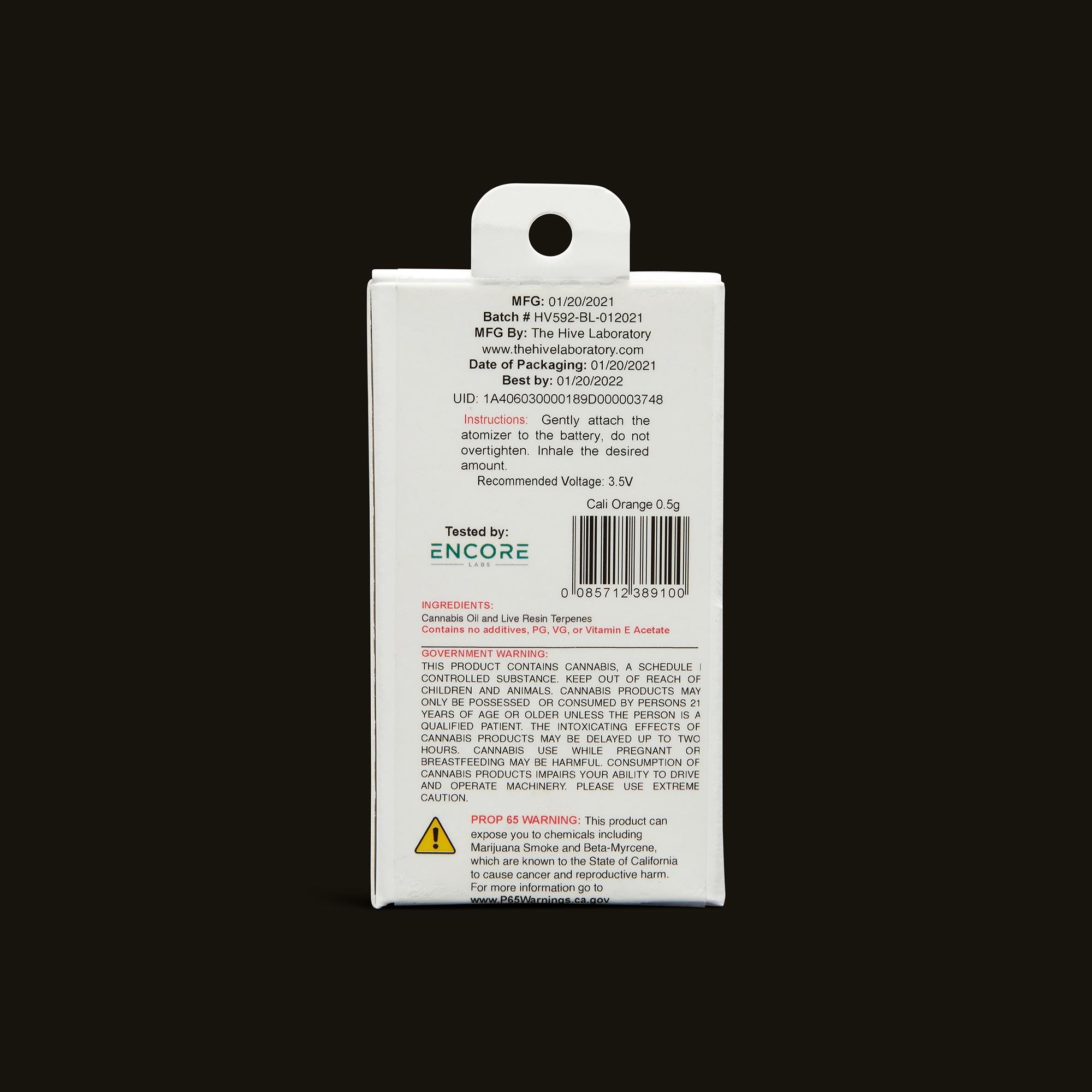 Bloom Brands Vape Pen - Cali Orange Live Resin Cartridge - 1g