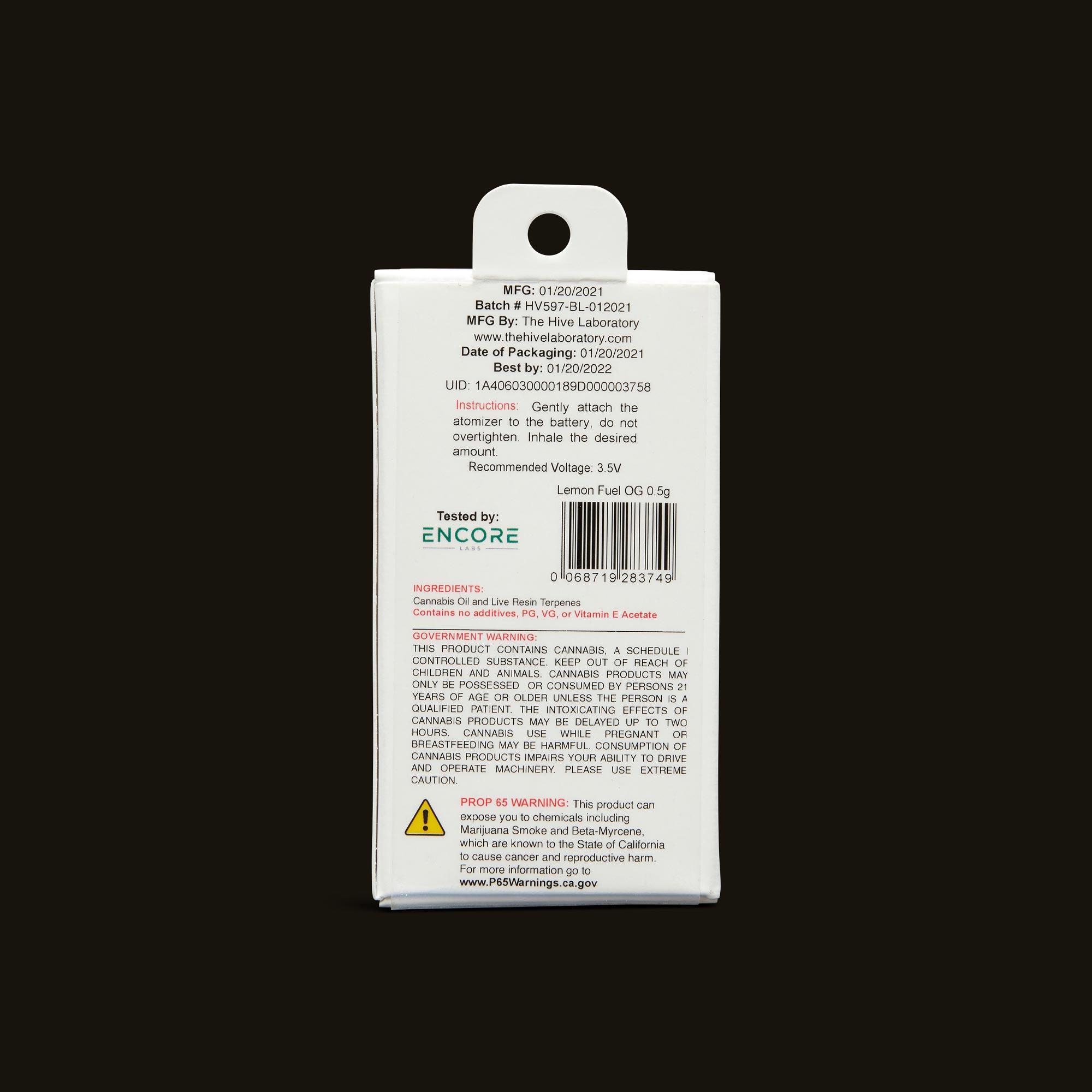 Bloom Brands Vape Pen - Lemon Fuel OG Live Resin Cartridge - 1g