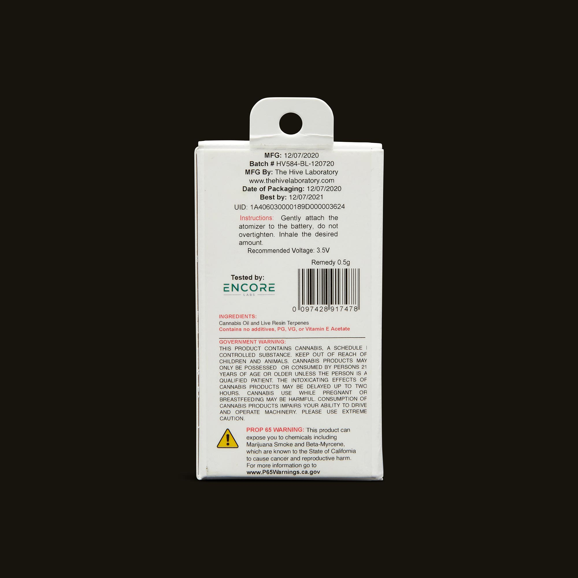 Bloom Brands Vape Pen - Remedy 2:1 Live Resin Cartridge - 1g